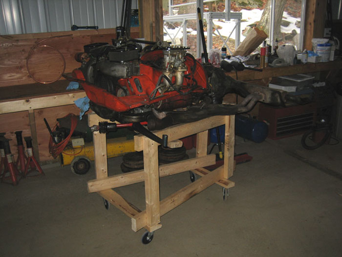 porsche 914 (vw type 4) engine and drivetrain removed from car